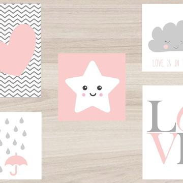 Kit Quadro Infantil - Coração Love Estrela Nuvem Chuva