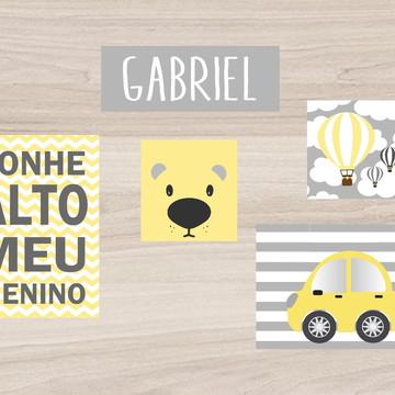 Kit Quadro Infantil - Sonhe Alto Cachorro Nome Balões Carro