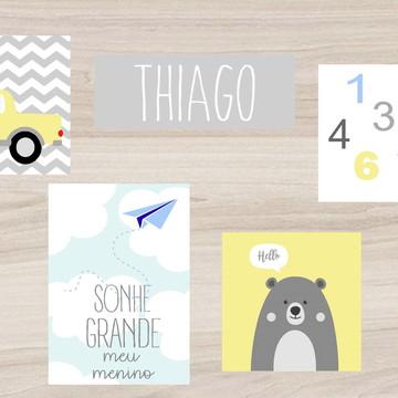Kit Quadro Infantil - Sonhe Grande Nome Idade Urso