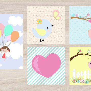Kit Quadro Infantil - Menina com balões Passarinho Coração