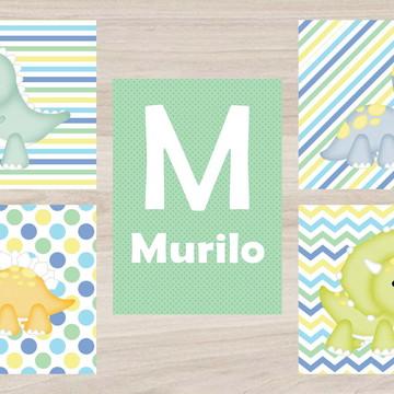Kit Quadro Infantil - Dino com Nome Menino