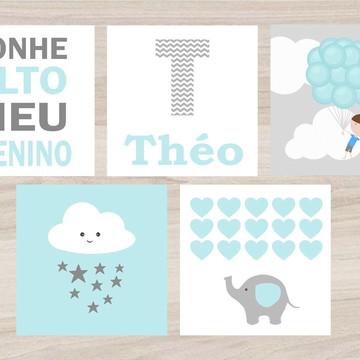 Kit Quadro Infantil - Sonhe Alto Menino com Balões Corações