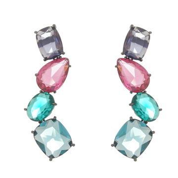 Brinco de pedras coloridas semi-joia