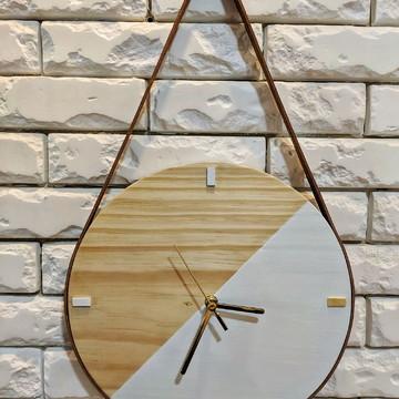 Relógio Minimalista Adnet Escandinavo DUO Woody/White
