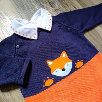 Macacão para Saída Maternidade Raposa laranja com marinho