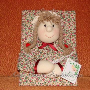Caderno diário bonequinha com velcro