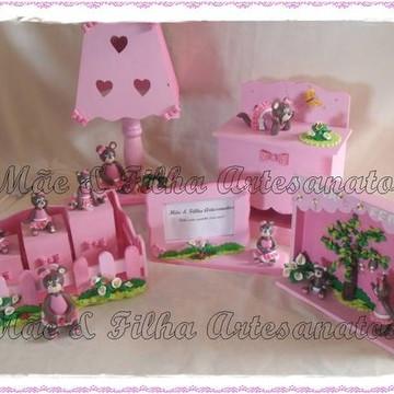 Kit Bebê Ursinhas Marrom e Rosa- 5 Peça