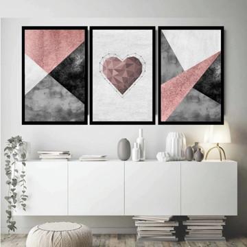 Quadro decorativo abstrato tons de cinza e rosa coração