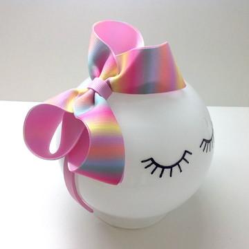 Tiara com Laço Boutique G Colorida Candy Rosa