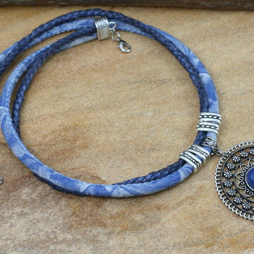 Maxi colar mandala de pedra azul bijuterias moda feminina
