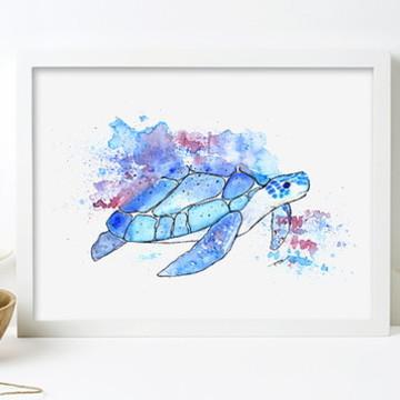 Tartaruga Azul Aquarela Gravura A4