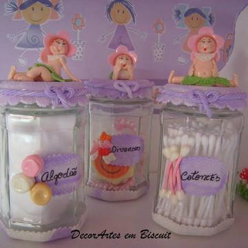 Pote algodão/cotonete Menina Flor