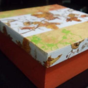 caixa em mdf  folhas de outono