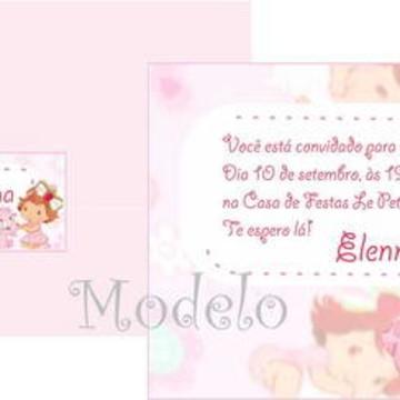 Convite Moranguinho Baby Gatinha