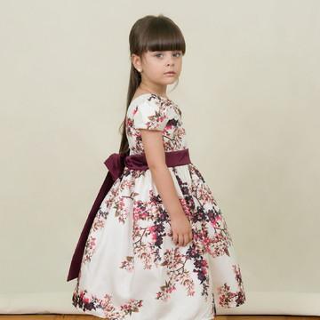 Vestido Infantil Floral Creme Marsala Daminha Festa Florista