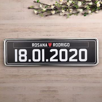 Casamento Placa de Carro Personalizada Metal Adesivado