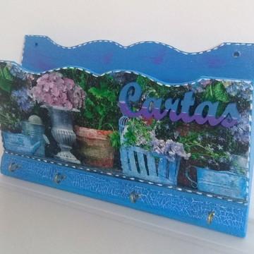 porta chaves e cartas floral azul