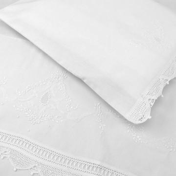 Jogo Lençol Berço Renda Renascença Floral Branco (2 peças)