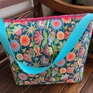 Bolsa de tecido floral colorida