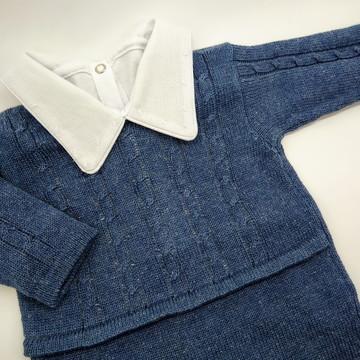 Saída Maternidade Macacão Tranças - Azul Jeans