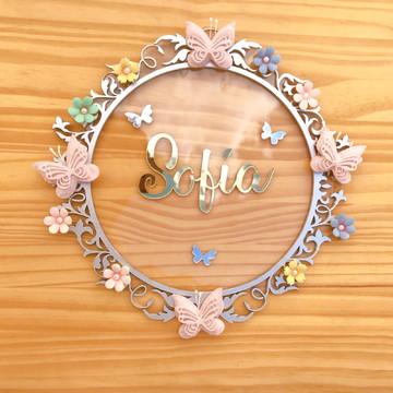 Porta Maternidade Borboletas Acrílico e Espelho