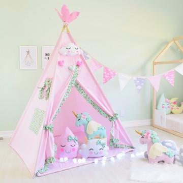 Cabana Infantil KIT 6 ITENS -Tenda Cabaninha Unicórnio