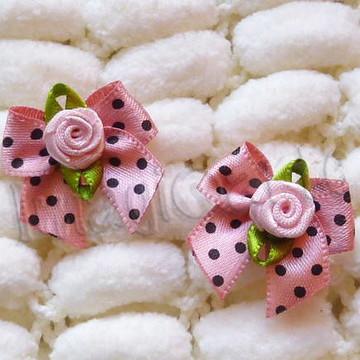 Laço de Pontas Mini Rosa Poá