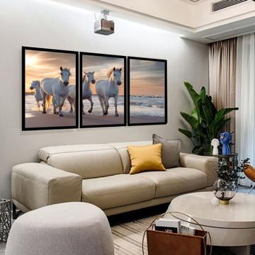 Kit 3 Quadros Cavalos Paisagem Decoração Grande Molduras