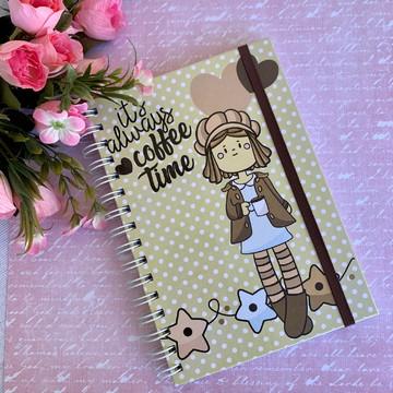 Caderno A5 (médio) Pautado Coffee Time