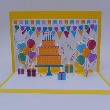 Cartão pop up Anivresário