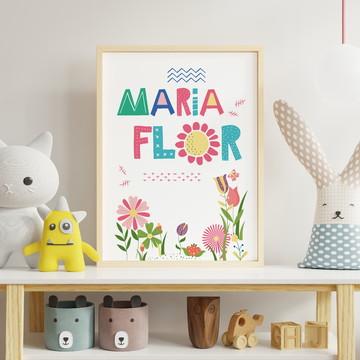 Quadro Personalizado para Quarto de bebê - Maria Flor