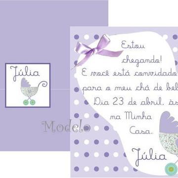 Convite Chá de bebê Carrinho lilás