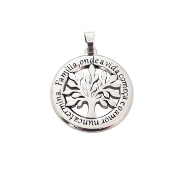 Pingente Medalha Árvore da Vida Prateado