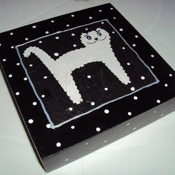 Tela gato Poá- preto e branco