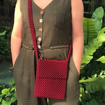 Bolsa de miçangas / Bolsa de contas vermelha / Beaded bag