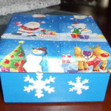 caixa em mdf Natal em Azul