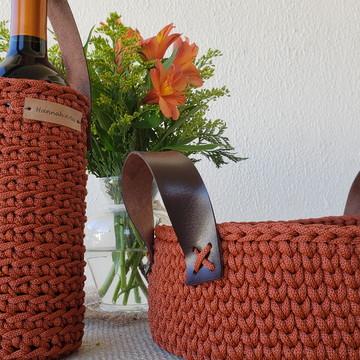Kit cesto redondo e porta vinho