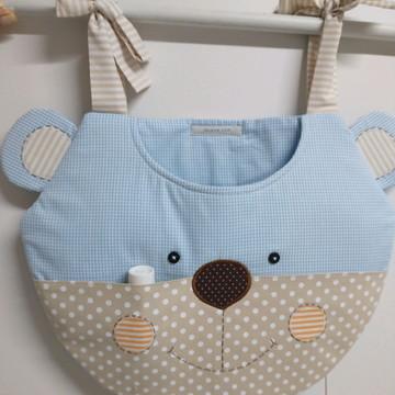 Porta Fraldas de Tecido Urso Azul