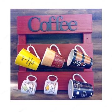 Porta Xicara Rustico Cantinho do Café p 6 Canecas Vermelho