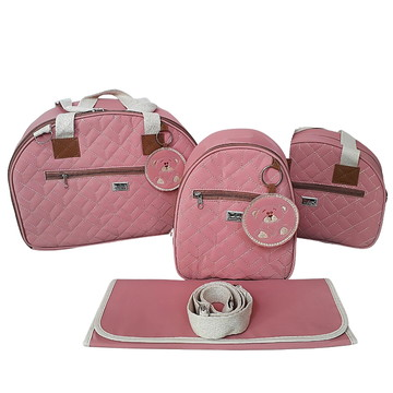 Bolsa Maternidade Rosa coral com mochila TermicaImpermeavel