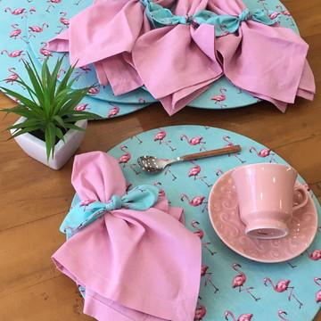 Kit Mesa 4 lugares Flamingo Rosa (capas, guardanapos e PG)