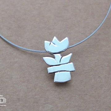 Pingente Mini Vaso de Flor de prata