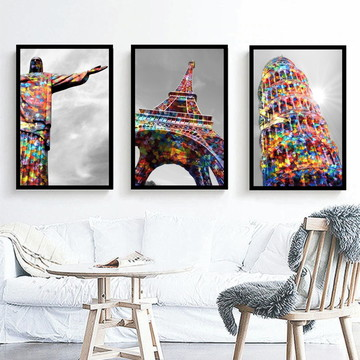 Kit 3 Quadro Paris Rio De Janeiro Torre Eiffel Roma Colorido