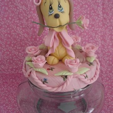 """pote de biscuit """"cachorrinho com flor"""""""