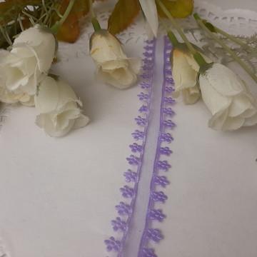 Fita de voil lilás com bordas de florzinhas 3 metros