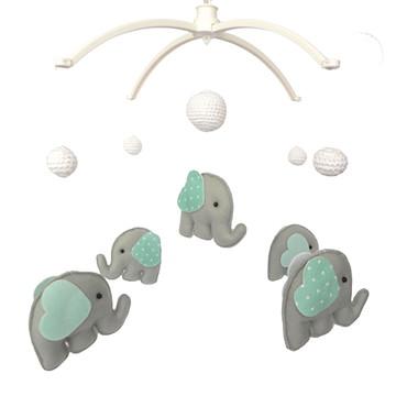 Móbile Musical com Elefantinhos verde água