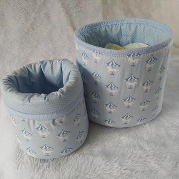 Kit Cestos Organizadores Carrossel Azul e Branco