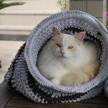 Toca Cama de Maxi Crochê Gatos