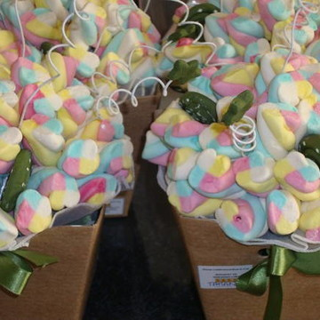 Buquê de marshmallow verde militar