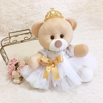 Ursa Pelúcia Noivinha Para Casamento Coroa Dourada
